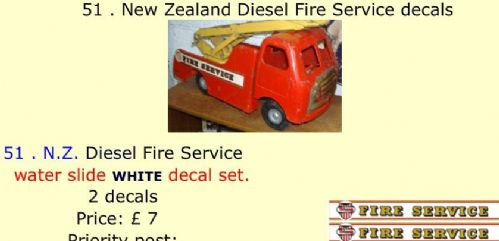 51 . Tri-ang New Zealand Diesel Fire Service decals
